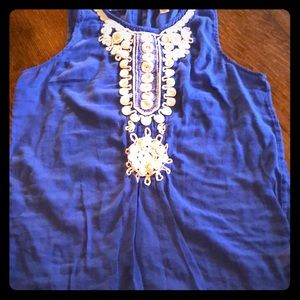 Blue tank top with embroidered accents